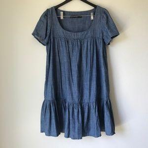 Zara Basic Faux Denim Shirt Dress